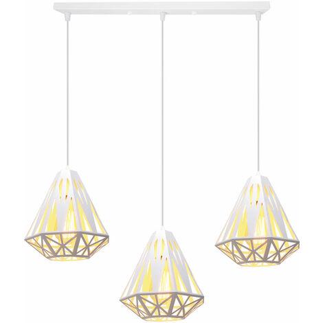 Modern Retro Ceiling Light,Creative Diamond Ceiling Lamp 3 Lights Pendant Light Industrial Metal Chandelier E27 Socket Iron Cage Lamp Shade White Ø20cm