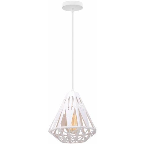 Modern Retro Hanging Light,Creative Diamond Ø20cm Ceiling Lamp Antique Pendant Light White Industrial Metal Chandelier E27 Socket Iron Cage Lamp Shade