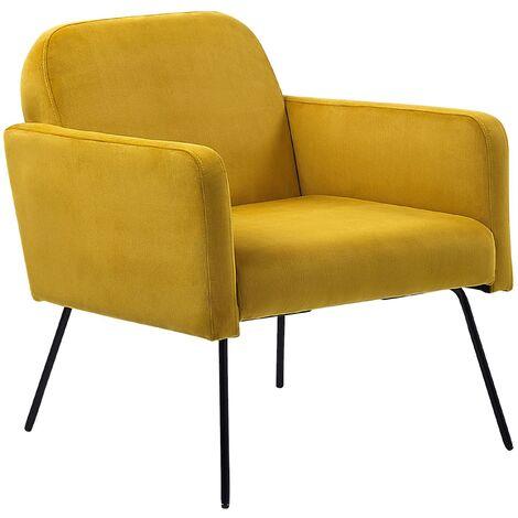 Modern Retro Living Room Armchair Slender Black Metal Legs Yellow Velvet Narken