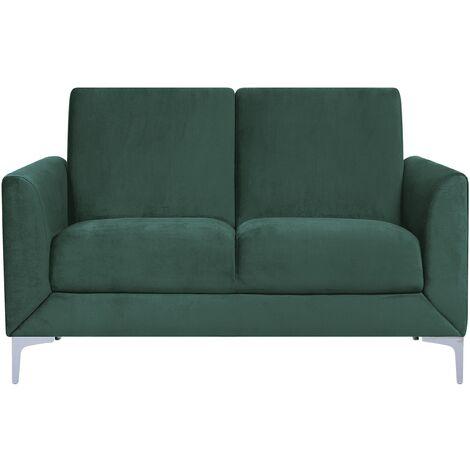 Modern Retro Upholstered 2 Seater Sofa Loveseat Velvet Fabric Green Fenes