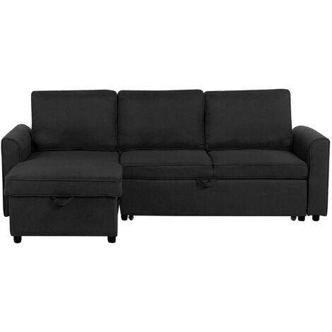 Modern Right Hand Fabric Corner Sofa Bed Storage Black Polyester Cushion Back Nesna