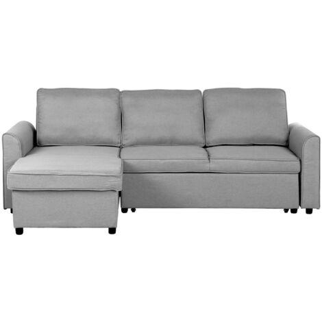 Modern Right Hand Fabric Corner Sofa Bed Storage Grey Polyester Cushion Back Nesna