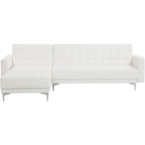 Modern Right Hand Faux Leather Corner Sofa Bed White Reclining Tufted Aberdeen