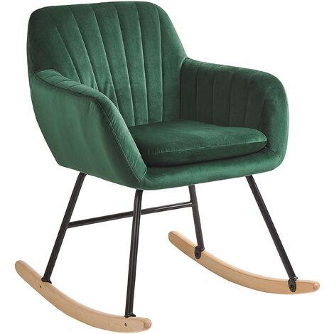 Modern Rocking Chair Wooden Skates Rocker Velvet Seat Emerlad Green Liarum
