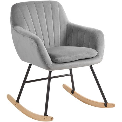 Modern Rocking Chair Wooden Skates Rocker Velvet Seat Grey Liarum