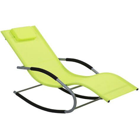 Modern Rocking Outdoor Sun Lounger Lime Green Fabric Sling Back Carano