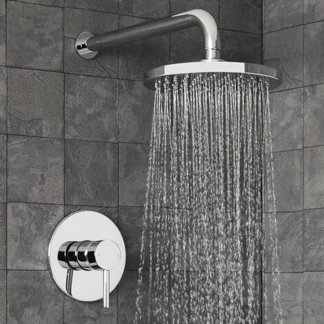 Modern Round Concealed Shower Fixed Head Set Single Lever Chrome