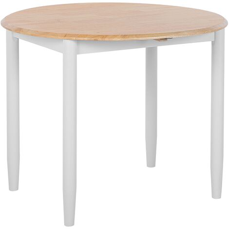 Modern Round Dining Table ø92 cm Extendable Tabletop Drop Leaf Light Wood Grey Omaha