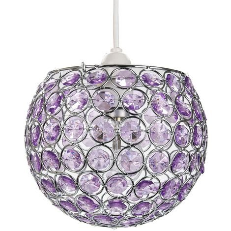 Modern Round Globe Easy Fit Pendant Shade with Small Purple Acrylic Bead Jewels by Happy Homewares