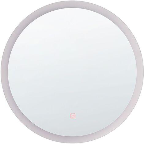 Modern Round LED Bathroom Mirror Wall Decor Hallway ø 58 cm SIlver Yser