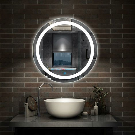 Modern Round LED Bathroom Mirror with Demister Pad 600mm Wall Mounted Make Up