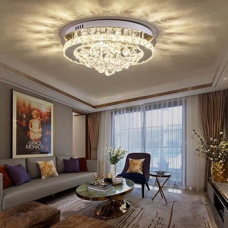 Modern Round LED Ceiling Light Crystal Chandelier Lamp, 40CM Dimmable