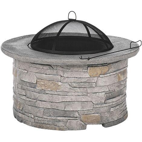 Modern Round Outdoor Fire Pit Heater Grey Black Mesh Cover Tambora
