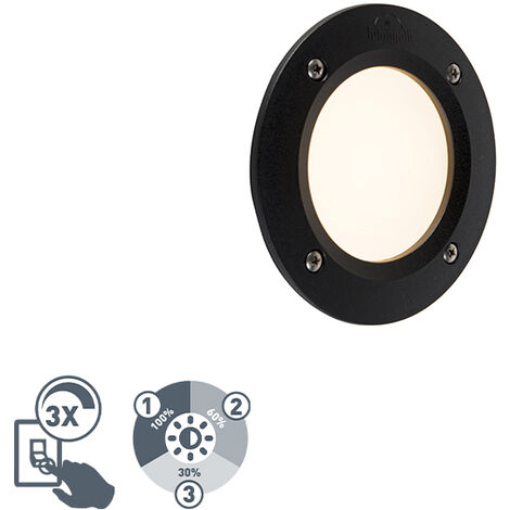 Modern round outdoor wall spot black incl. LED IP65 - Leti