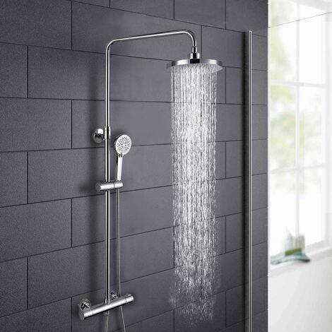 MODERN ROUND THERMOSTATIC WALL MOUNTED DUAL CONTROL RISER SHOWER MIXER