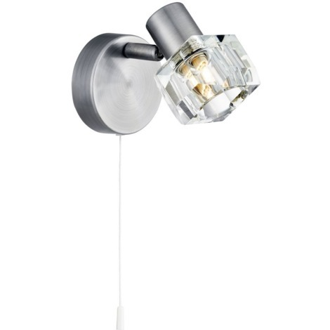 huge discount 1ac04 a1eb6 Modern Satin Chrome Wall Light with Chunky Ice Cube Shade by Happy Homewares