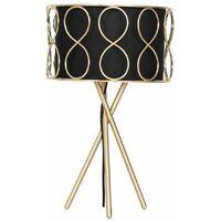 Modern Satin Gold & Black Tripod Style Table Lamp