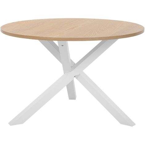 Modern Scandinavian Design Round Dining Table ø120 cm Light Wood White Jacksonville