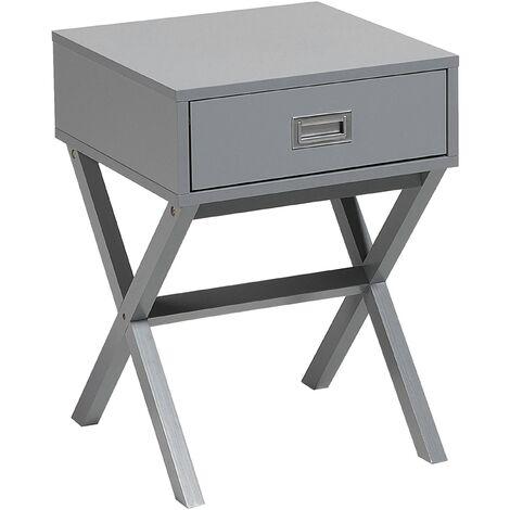 Modern Scandinavian Drawer Bedside Table Solid Wood Base Grey Monroe