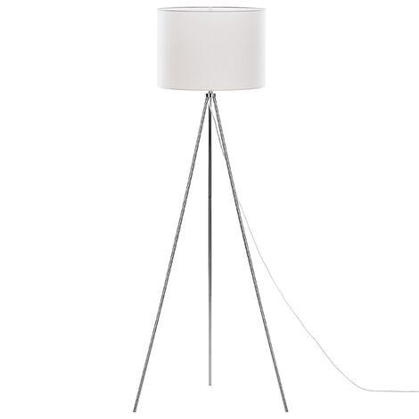 Modern Scandinavian Floor Lamp Silver Tripod Metal White Fabric Shade Vistula