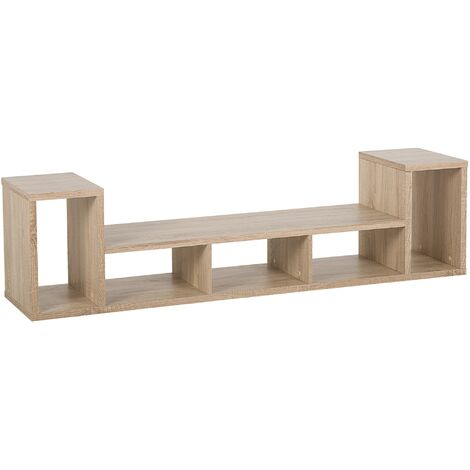 Modern Scandinavian TV Stand Unit 5 Shelves Open Back Light Wood Cordoba