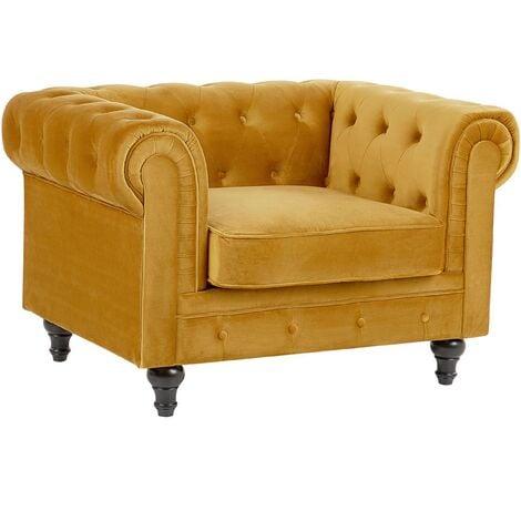 Modern Scroll Velvet Club Chair Tufted Back Mustard Yellow Chesterfield