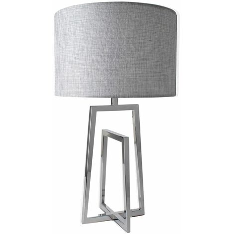 Modern Sculptured Polished Chrome Table Lamp Bedside Grey Silver Shade