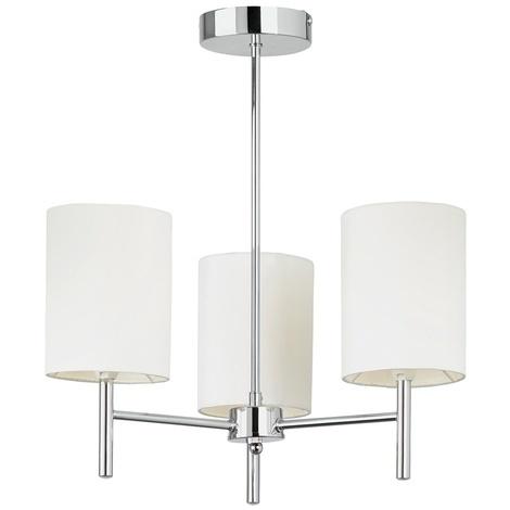Modern Semi Flush Ceiling Light With Ivory Faux Silk Shades By Washington Lighting