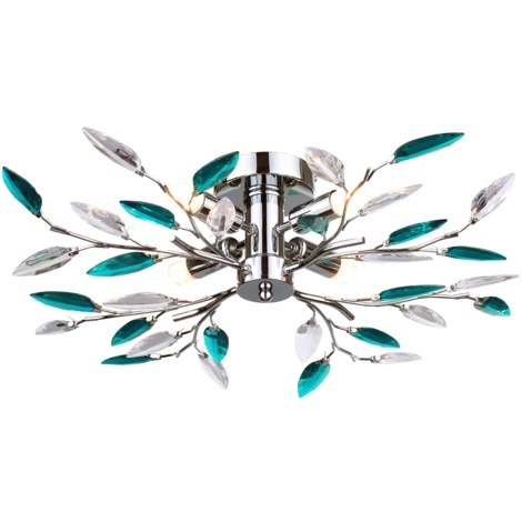 Modern Semi Flush Chrome Ceiling Light with Teal Acrylic Leaves by Happy Homewares