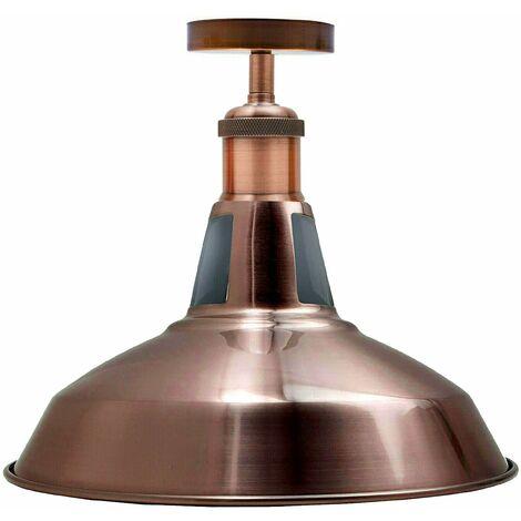 Modern Semi Flush Fittings Brushed Metal Lounge Ceiling light - Copper