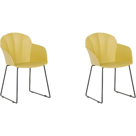 Modern Set of 2 Dining Chairs Yellow Black Metal Legs Synthetic Formed Back Sylva