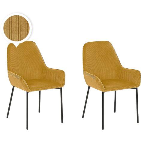 Modern Set of 2 Dining Chairs Yellow Corduroy Fabric Black Metal Legs Loverna