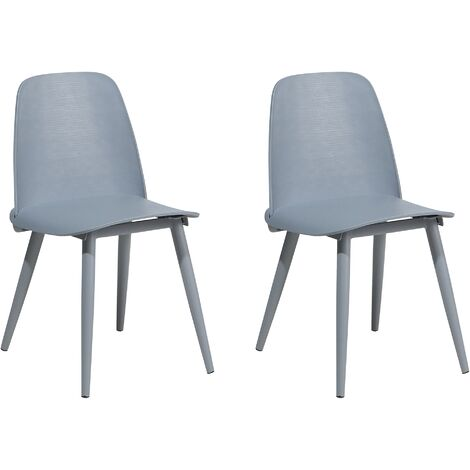 """main image of """"Modern Set of 2 Dining Table Chairs Kitchen Living Room Plastic Grey Hamilton"""""""