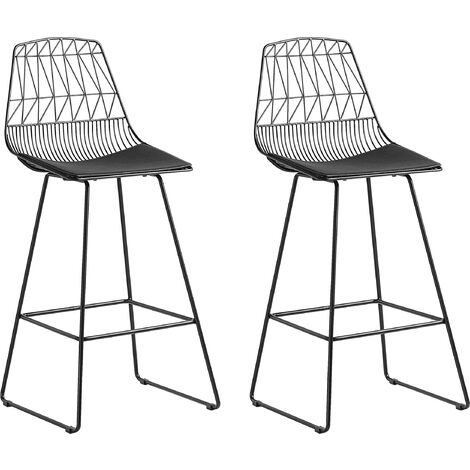 """main image of """"Modern Set of 2 Metal Bar Chairs Counter Height Stool PU Leather Black Preston"""""""