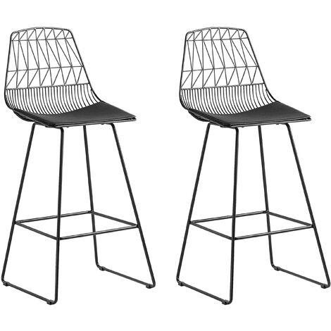Modern Set of 2 Metal Bar Chairs Counter Height Stool PU Leather Seat Black Preston