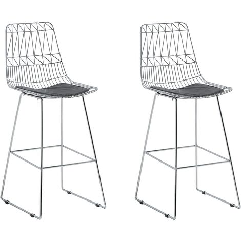Modern Set of 2 Metal Bar Chairs Counter Height Stool PU Leather Seat Silver Preston