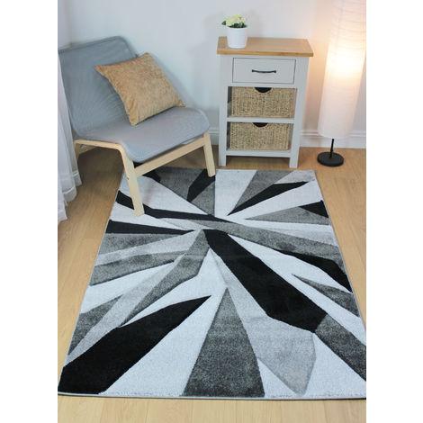 Modern Shatter Splinter Design Hand Carved Soft Black/Grey Rug Home Carpet