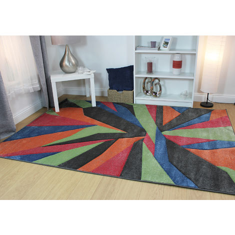 Modern Shatter Splinter Design Hand Carved Soft Multi Rug Home Carpet