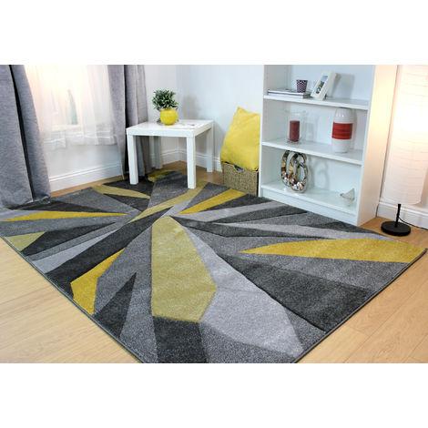 Modern Shatter Splinter Design Hand Carved Soft Ochre Rug Home Carpet