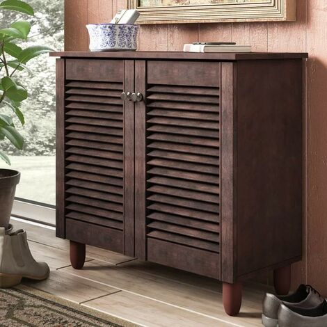 Modern Shoe Storage Cabinet 2 Doors Footwear Stand Rack Unit Cupboard Dark Wenge