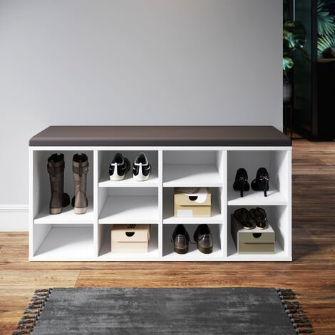 Modern Shoe Storage Rack Cabinet Bench Cushion 10 Moveable Shelves Home White