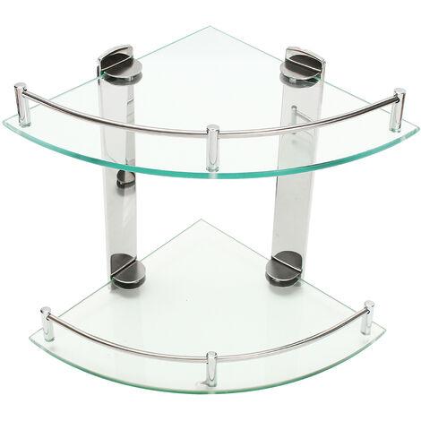 Modern Shower Holder Triangular Glass Shelf Double Layer Bath Organizer
