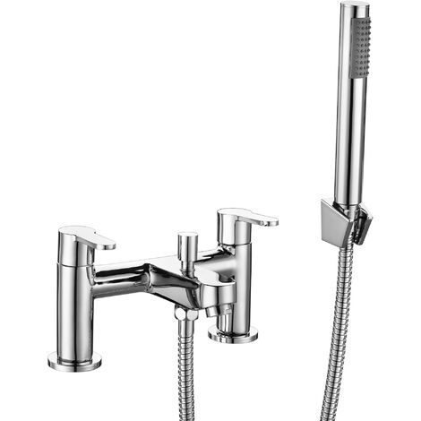 Modern Shower Mixer Bath Tap Twin Lever Chrome Finish Hot Cold Bathroom Filler