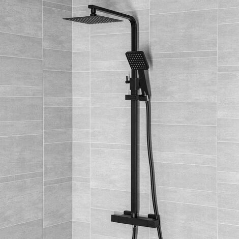 Modern Shower Mixer Thermostatic Exposed Square Bathroom Twin Head Valve Black