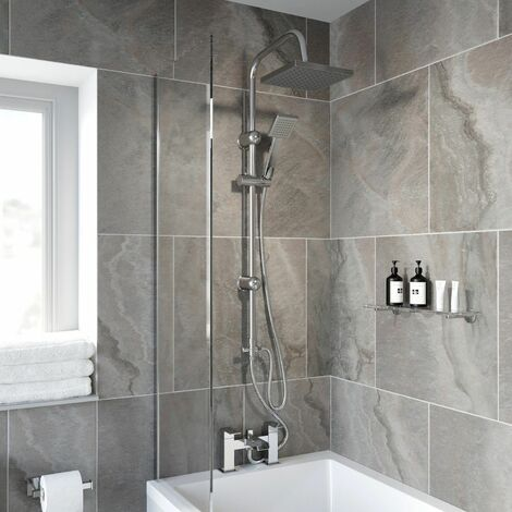 Modern Shower Mixer with Waterfall Tap Kit Riser Rail Hose Chrome Twin Heads