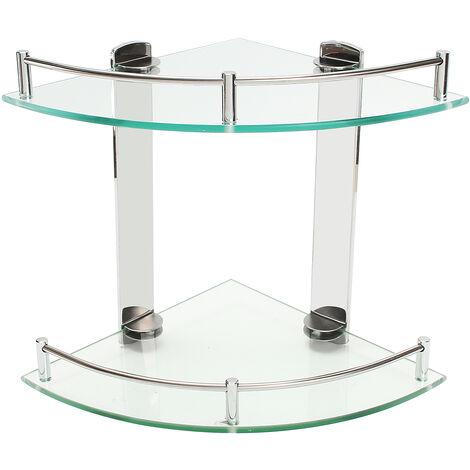 Modern Shower Triangular Holder Glass Shelf Double Layer Bath Organizer 20Cm Hasaki
