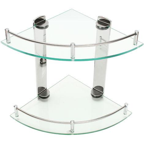 Modern Shower Triangular Holder Glass Shelf Double Layer Bath Organizer Sasicare