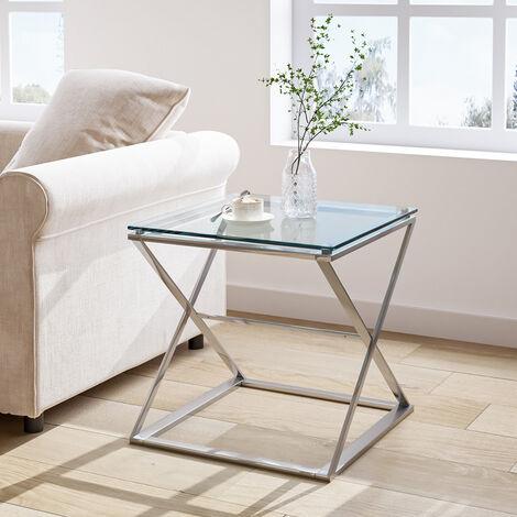 "main image of ""Modern Side End Table Tempered Glass Top & Chrome Leg Living Room Bedroom Furniture"""