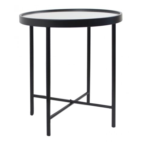 Modern Side Table Round Metal Furniture Vintage Mirrored Glass Small Plant Stand