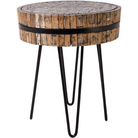 Modern Side Table Solid Wood Tabletop Black Metal Base Rustic Taku